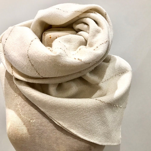 Undyed British Lambswool & Textured Silk Square Scarf