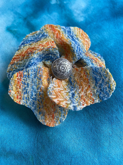 Small Blue, Yellow & Orange Wave Painty Flower