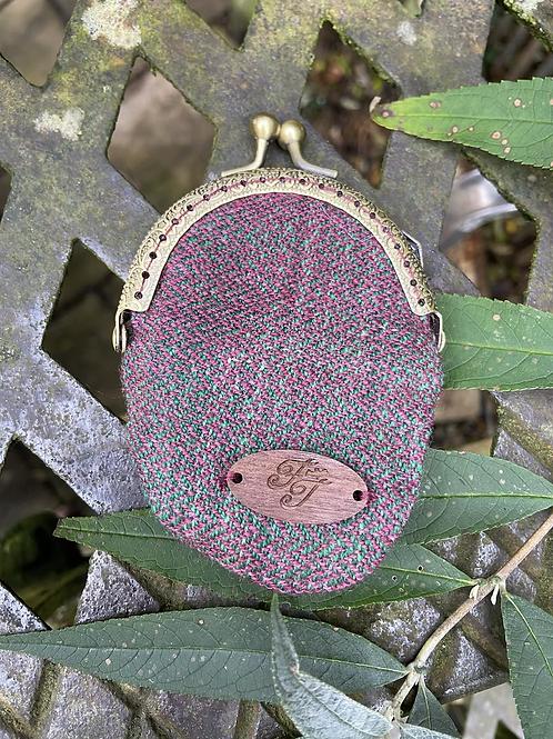 Purple & Green Herringbone Mini Round Coin Purse
