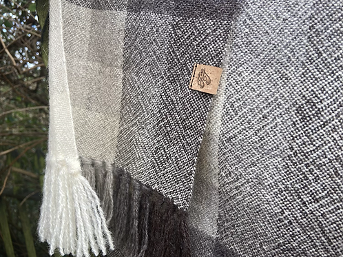 Natural British Wool Check Scarf