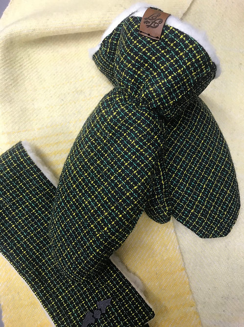 Black, Green & Yellow Check Mittens