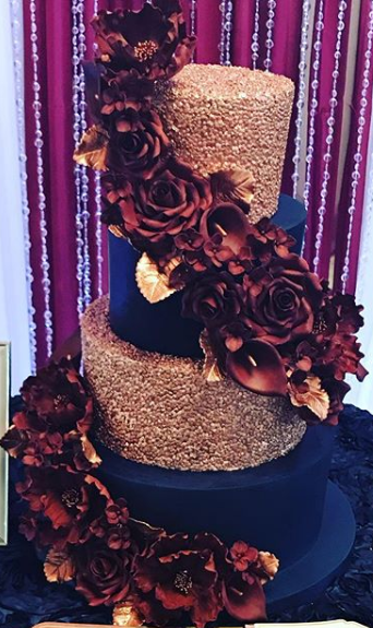 Blue Rose Gold Cake with Florals.PNG