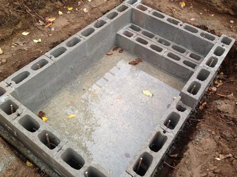 Piscina de blocos de concreto
