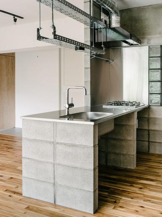 Balcão com blocos de concreto