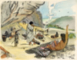 archaic family in cave draw color[255].j