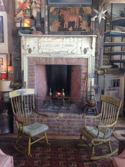 Camp Moonrise rustic fireplace