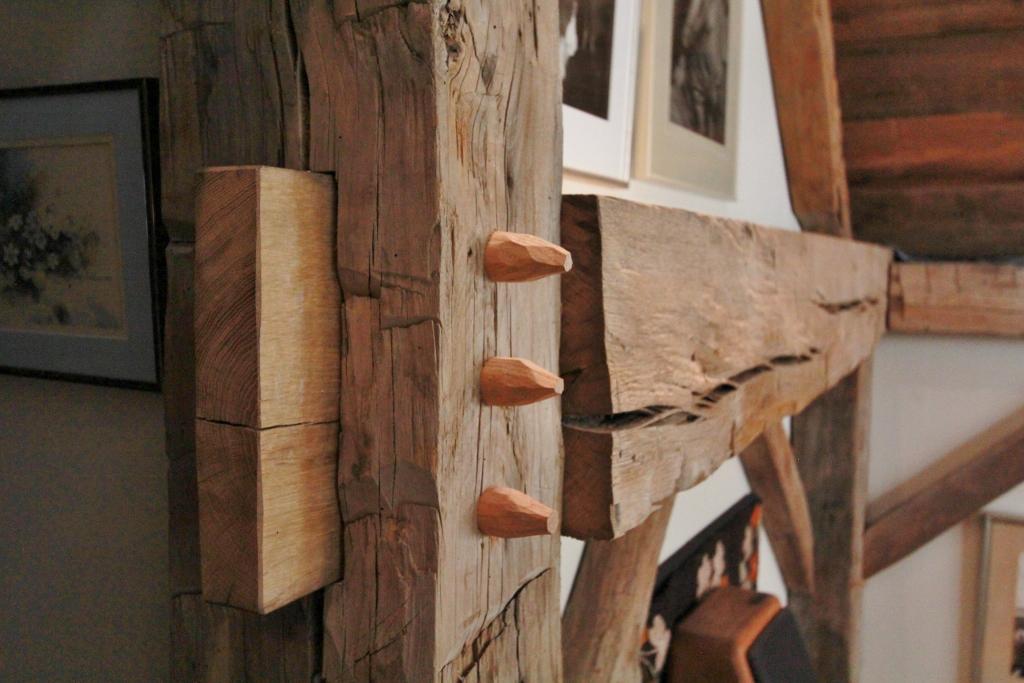 Detail of restored timber frame