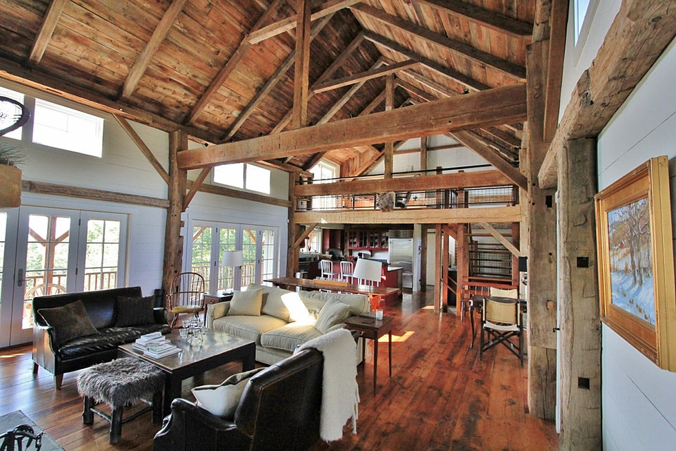 Green mountain timber frames vermont barn homes for Timber frame home interiors