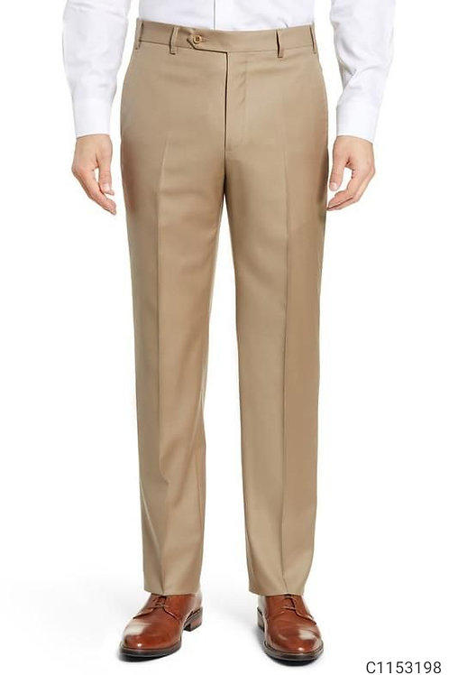 Poly Cotton Solid Regular Fit Formal Trouser