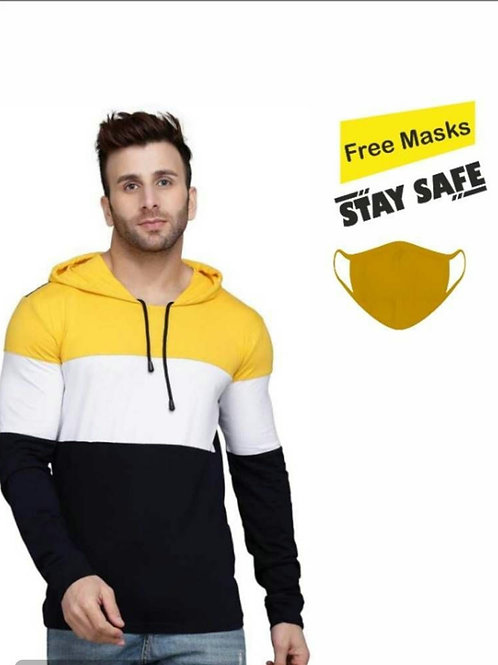 Get A Mask Free!!  Multicoloured Colourblocked Cotton Hooded Tees
