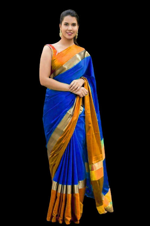Precious Cotton Silk Solid With Border Regular Sarees