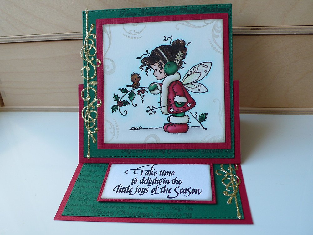 whimsy wee stamp holly winter fairy zig clean color viva decor floral embellishments quietfire designs