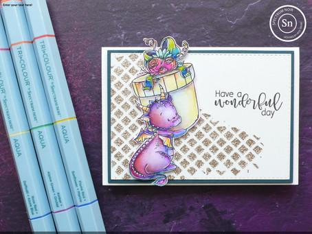 Multi-coloured dragon card