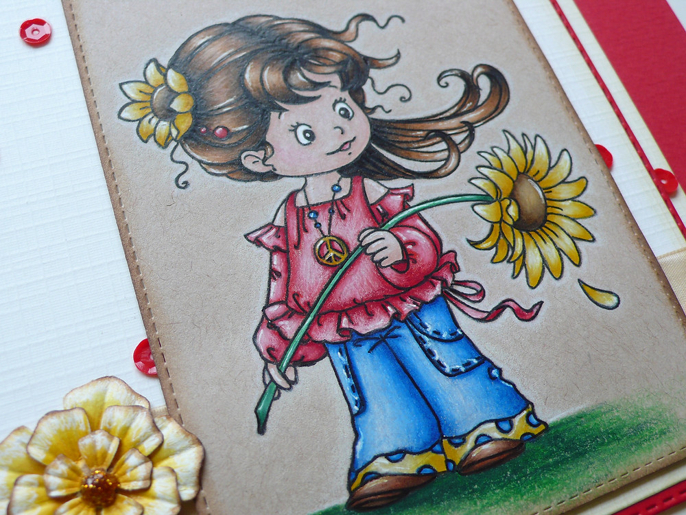 Whimsy Stamps Peace Faber Castell Polychromos
