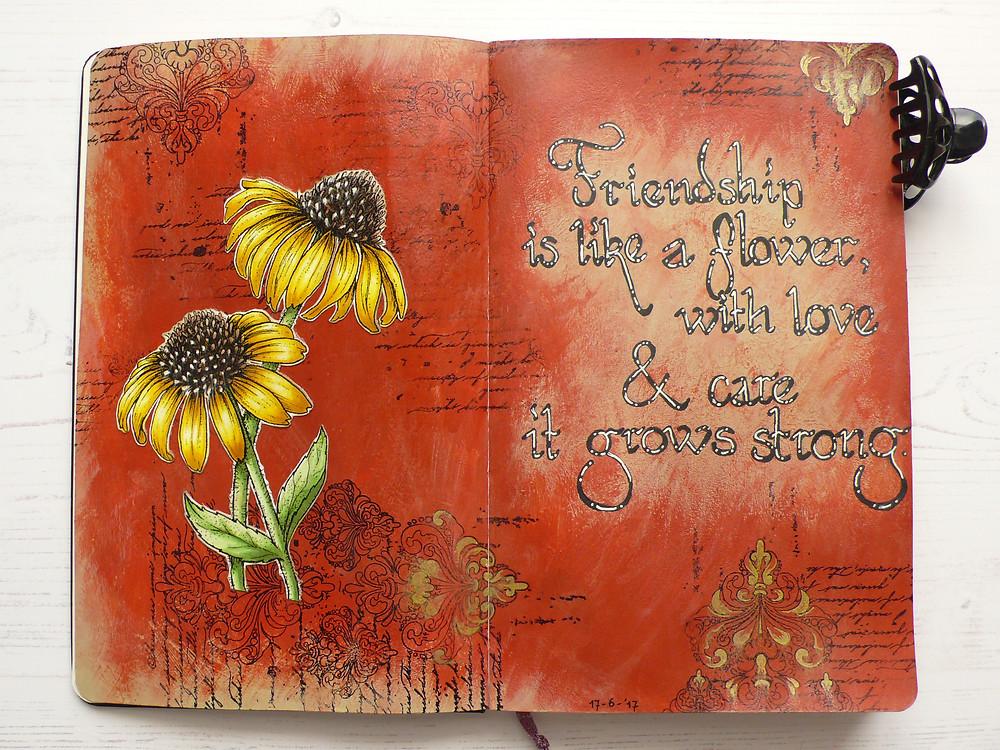 Power Poppy Easy Breezy Coneflowers  Art Journal Page