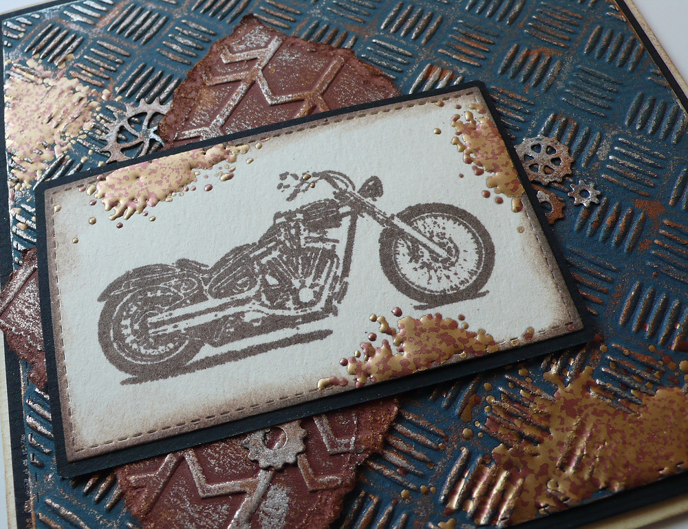 Red Rubber Stamp Motorcycle Memory Box Mini Gears Gilding Wax  Stampendous Fran-Tage Aged Bronze