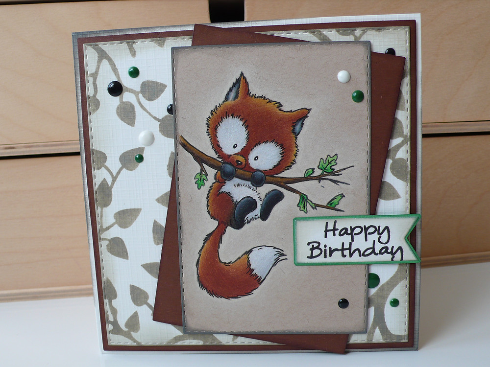 wild rose studio fox on branch