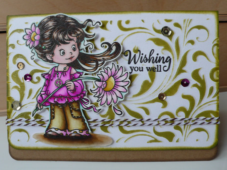 "Whimsy Stamps ""Peace"" with Zig Clean Color markers"