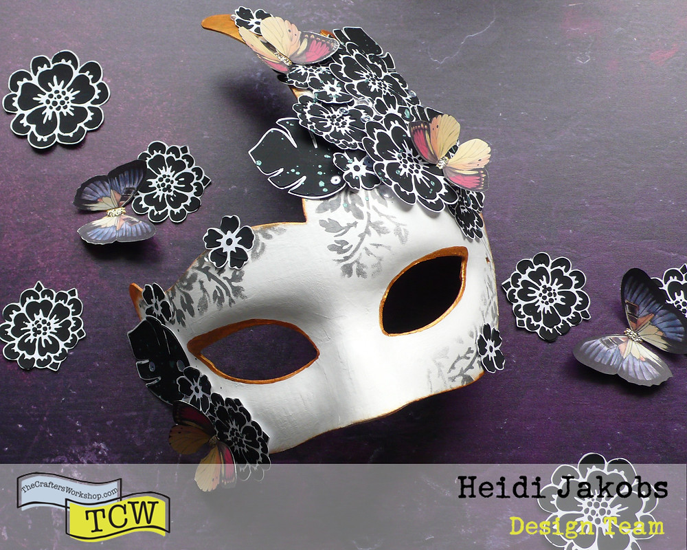 Venetian Carnical Mask decorated with stencilled elements