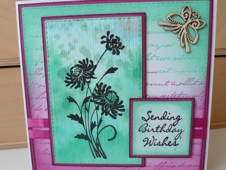 Silhouette Flower card with Salt & Watercolour background