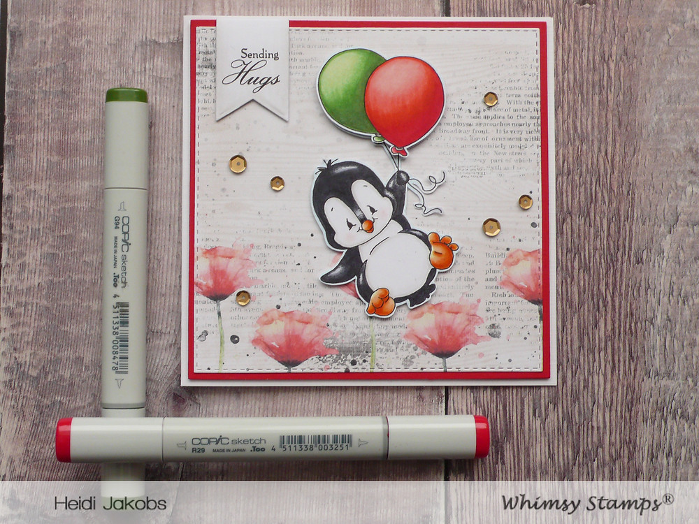 Whimsy Stamps Penguin Flies