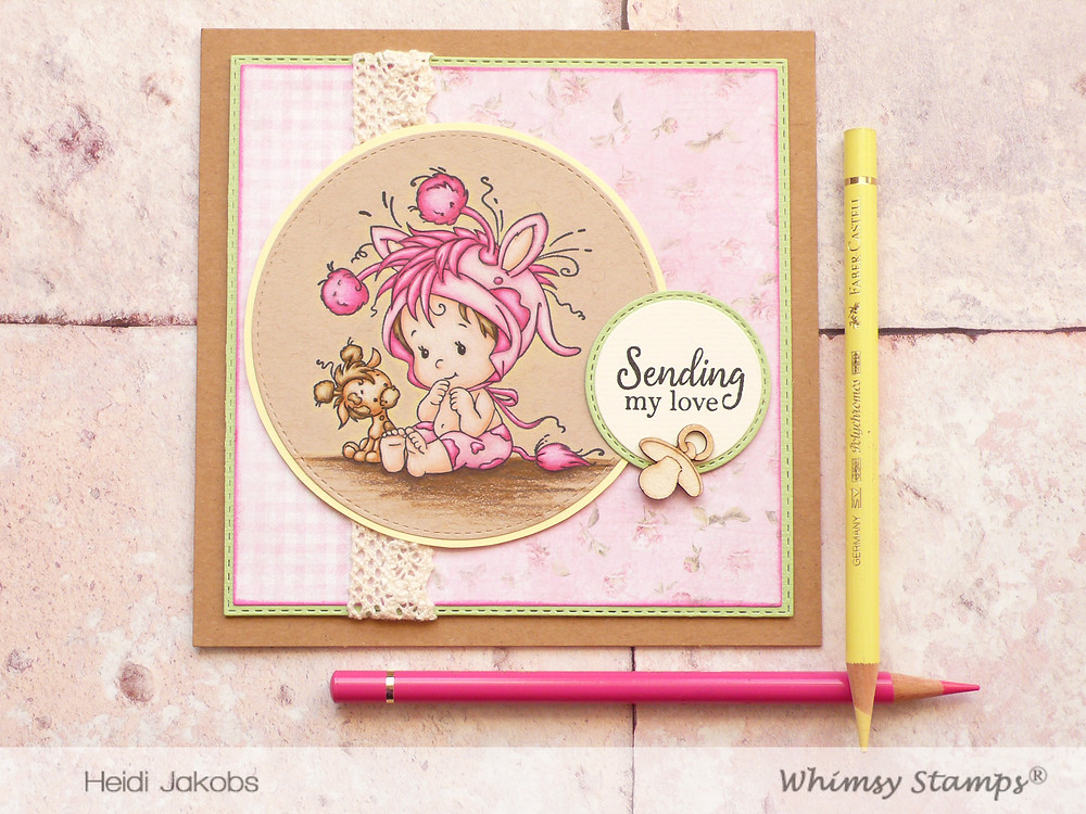 Whimsy Stamps Baby Giraffe Friendly Flowers
