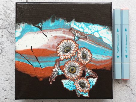 Daisies on Acrylic Pouring Project