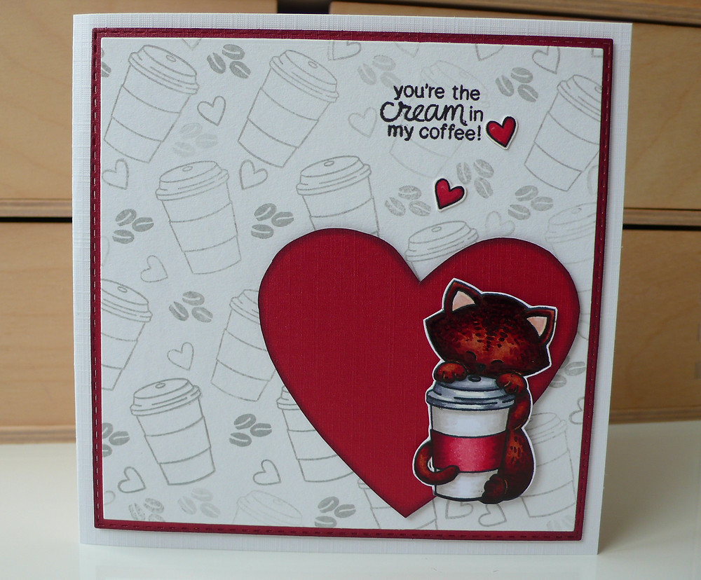 Newton's Nook Newton Loves coffee Copic markers valentine's day card