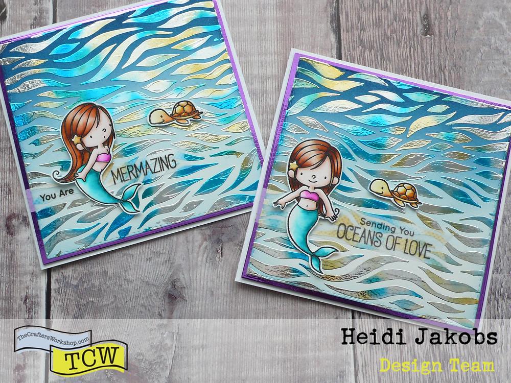 Deco Foil Therm-O-Web TCW stencil MFT Mermazing stamp set