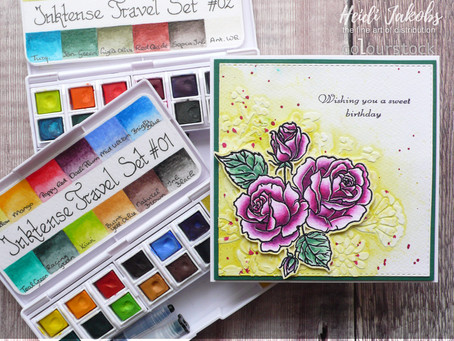 Roses Card with Derwent Inktense