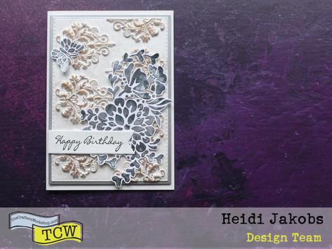 Elegant card with modeling paste moulds