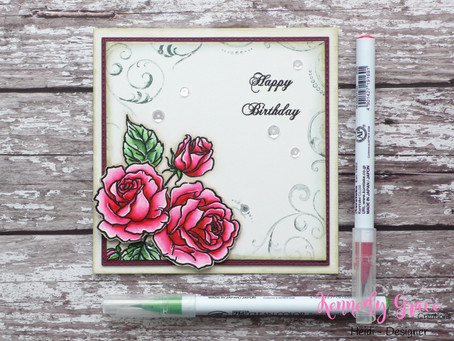 Layered vintage roses Birthday Card