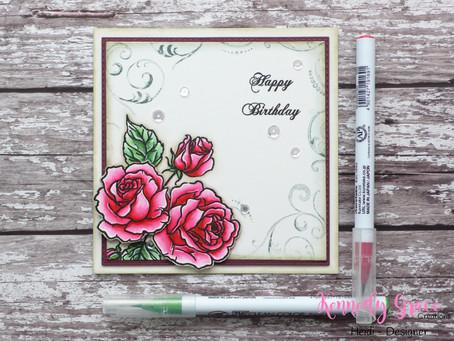 Layered vintage roses Birthday Card