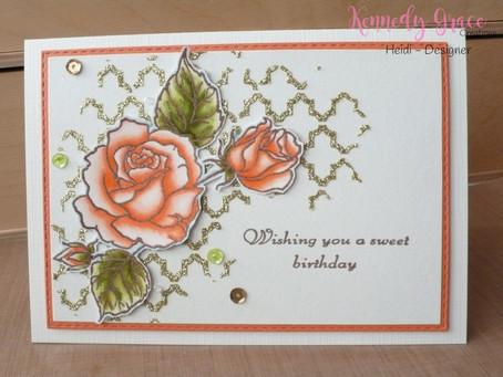 Gold Quatrefoil Roses Card