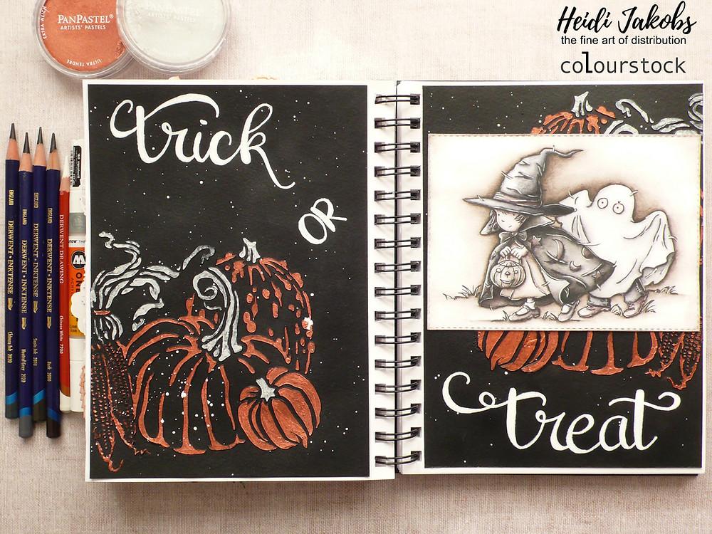 Derwent Inktense pencils, Molotow Paint Marker, PanPastel, Colourstock