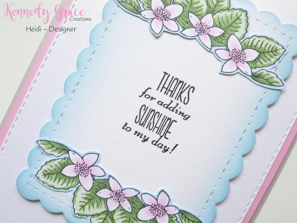 "Kennedy Grace Creations Grace's Little Note stamp set ""Scalloped Stitched Stacked Rectangle"" die set"