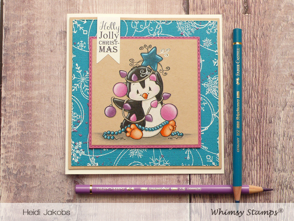 Whimsy Stamps Penguin Christmas Tree Snow Flurry Background