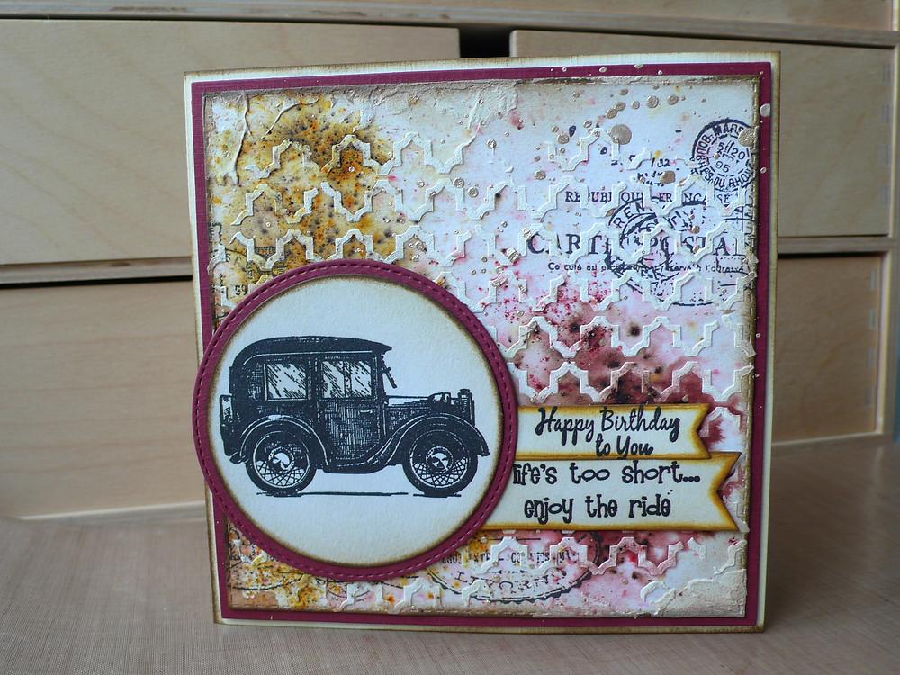 TCW Mini Quatrefoil Reversed Paper Artsy Infusions Joy Crafts Retro Car
