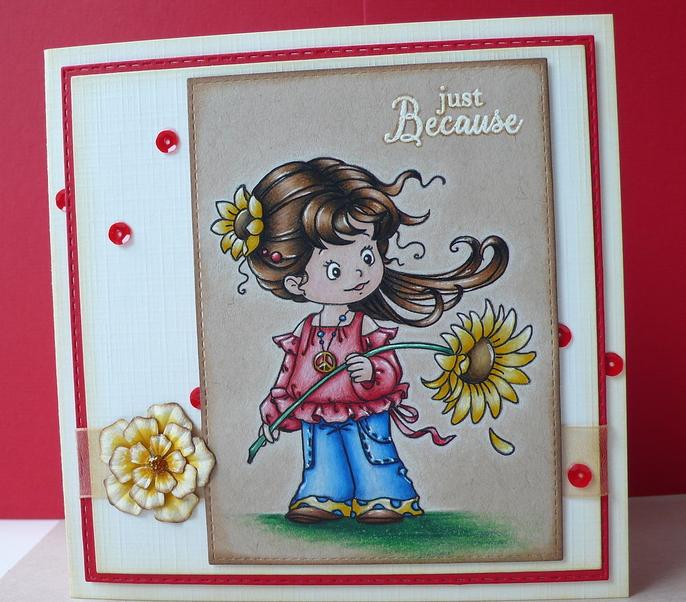 Whimsy Stamps Peace Friendly Flowers Faber Castell Polychromos