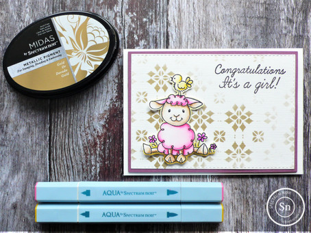 Creating an easy baby girl card using Spectrum Noir products