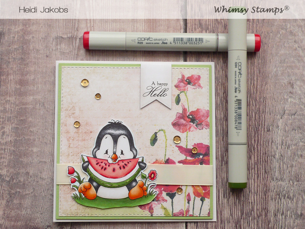 Whimsy Stamps Penguin Loves Watermelon