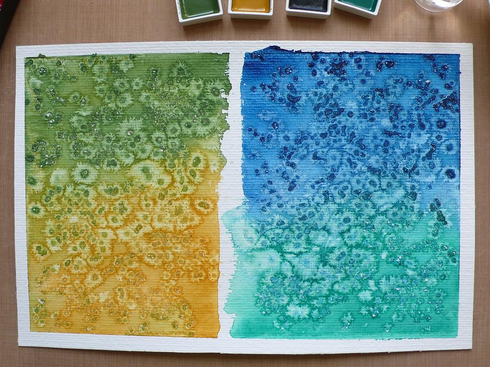 salt and watercolour background card technique