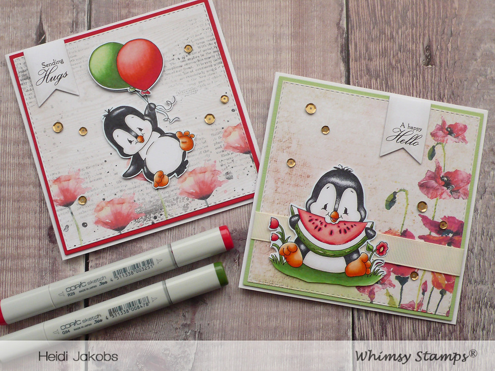Whimsy Stamps Penguin Flies Penguin Loves Watermelon