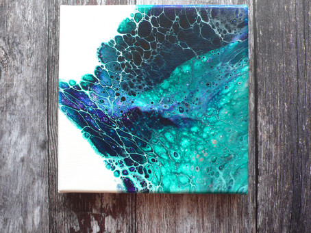 Cool toned Acrylic Pouring Project without Silicone