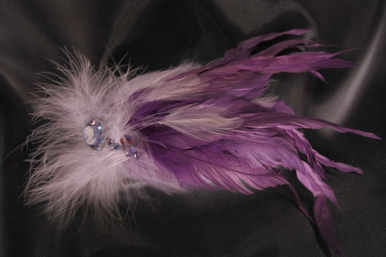 $40 Large Feather Fascinator -Violets Variation Available in a Variety of Shapes