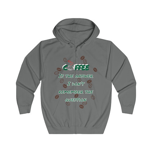 Coffee Is The Answer Green/White Zip Hoodie