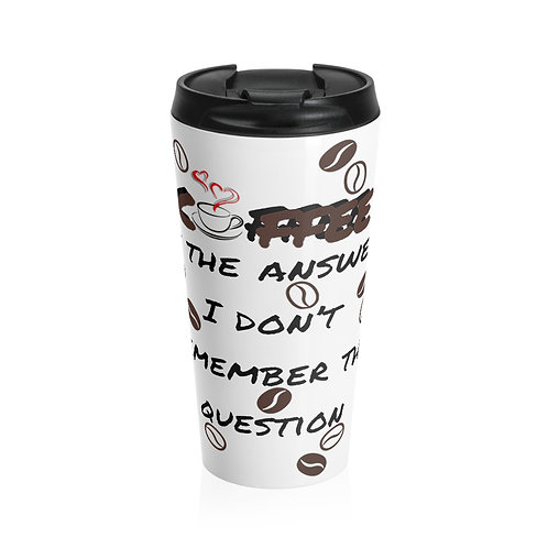Coffee Is The Answer Green/White Travel Mug White Background