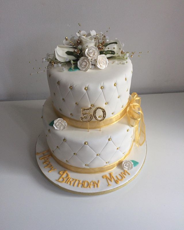 #50th birthday cake#2tier cake#gold and white cake#mercelascakeworld