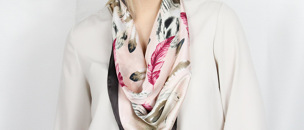 Pastel Pink Feather Square Scarf
