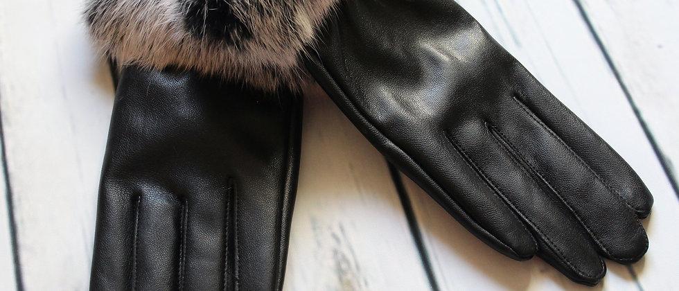 Rabbit Fur Trim Gloves